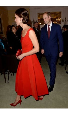 Kate Middleton Reception at the Government House Red Ankle Length Asymmetrical Red Carpet Celebrity Dress