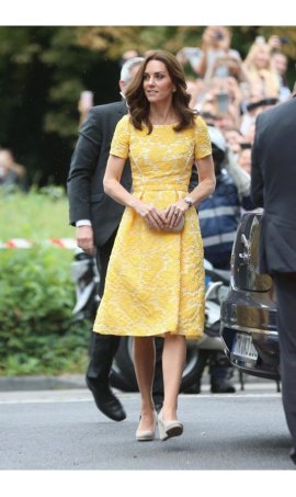 Kate Middleton Yellow Fit and Flare Graduation Homecoming Red Carpet Celebrity Dress Replica