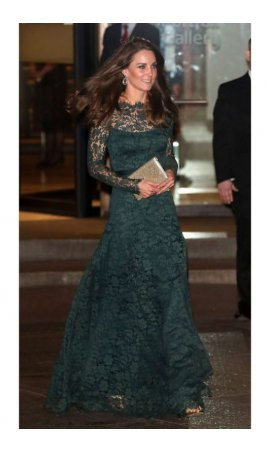 The Duchess of Cambridge Kate Middleton Long Sleeve Hunter Lace Low Back Red Carpet Celebrity Dress
