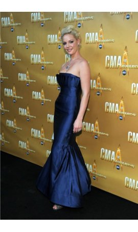 Katherine Heigl  2010 CMA Awards Royal Blue Strapless Mermaid Red Carpet Celebrity Dress