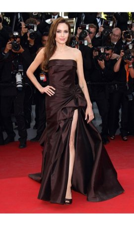 Angelina Jolie 64th Annual Cannes Film Festival 2011 Chocolate Satin Red Carpet Celebrity Dress
