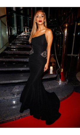 Nicole Scherzinger Champ'Seed Party Black Mermaid Beaded Red Carpet Celebrity Dress