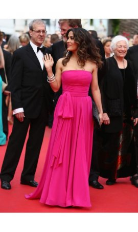 SSalma Hayek 2014 Cannes Film Festival Fuchsia Strapless Chiffon Red Carpet Celebrity Dress