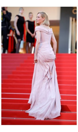 Uma Thurman 70th annual Cannes Film Festival Pale Pink Off The Shoulder Red Carpet Celebrity Dress