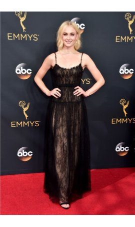Sophie Turner 68th Annual Primetime Emmy Awards Black Spaghetti Straps Red Carpet Celebrity Dress