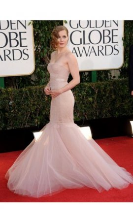 Amy Adams 2013 Golden Globe Awards Strapless Lace Bodice Organza Skirt  Mermaid Red Carpet Celebrity Dress