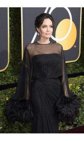 Angelina Jolie Golden Globes 2018 Black Sheer Cape Red Carpet Celebrity Dress Recreation
