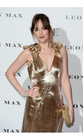 Dakota Johnson European Premiere of 'How To Be Single' Gold Plunging SatinRed Carpet Celebrity Dress For Sale
