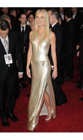 Gwyneth Paltrow Oscar 2011 Champagne Sequin Red Carpet Celebrity Dress With Side Slit