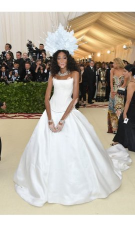 Winnie Harlow 2018 Met Gala White Strapless A Line Red Carpet Celebrity Dress