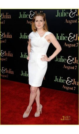 Amy Adams 'Julie & Julia' Los Angeles Special Screening White Asymmetrical Graduation Homecoming Party Red Carpet Celebrity Dress