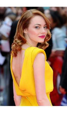 Emma Stone World Premiere of The Amazing Spider-Man 2 Yellow Open Back Ruffled Red Carpet Celebrity Dress