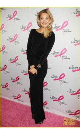Kate Hudson 2013 Hot Pink Party Black Long Sleeve Bateau Form-fitting Red Carpet Celebrity Dress