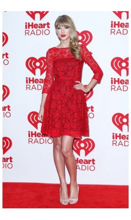 Taylor Swift IHeartRadio Music Festival 2012 Red Lace Red Carpet Celebrity Dress For Sale