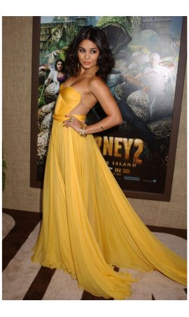 Vanessa Hudgens Journey 2 Premiere Yellow Strapless ChiffonRed Carpet Celebrity Dress With Sheer Side Panels