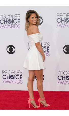 Stephanie Bauer People's Choice Awards 2015 White Off-the-shoulder Stretchy Red Carpet Celebrity Dress For Party