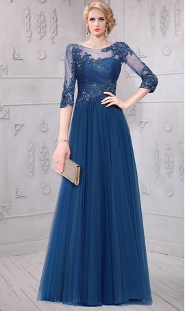 fabulous beaded lace applique three quarter length sleeves scoop neckline tulle evening dress