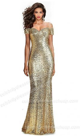 Fabulous Sequined Off-The-Shoulder Sweetheart Sequin Long Formal Form Fitting Prom Evening Dress