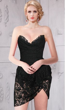 gorgeous sweetheart asymmetrical short lace bustier dress
