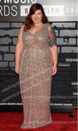 amazing v neck ruched waist floor length sequin bridesmaid formal dress Mary Lambert 2013 Mtv- Music Awards