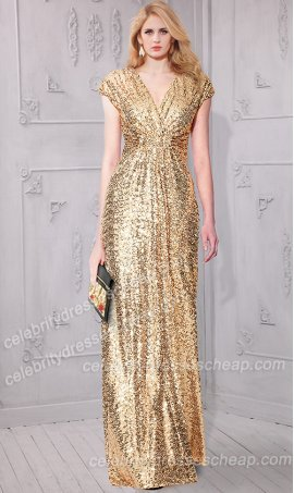 Sparkling Dolman sleeves floor length Sequin bridesmaid prom formal evening gown dress